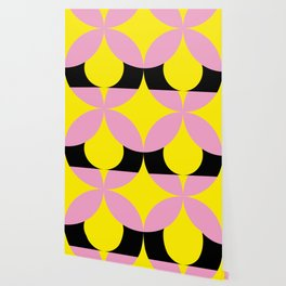 Four-Leaf-Clover in pink, hiding a Black Circle in a yellow background Wallpaper