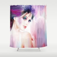 naked Shower Curtains featuring naked by tatiana-teni