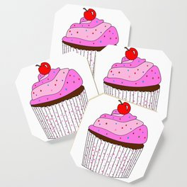Pink Cupcake With Sprinkles Coaster