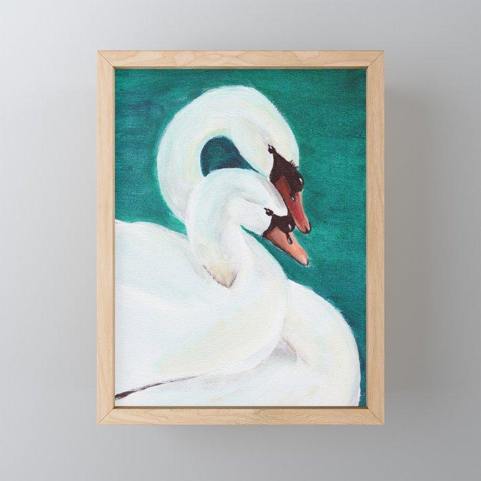 Swans Love Framed Mini Art Print