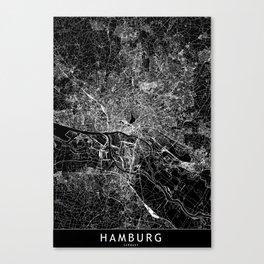 Hamburg Black Map Canvas Print