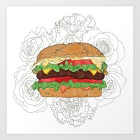 hamburger Art Prints featuring Hamburger by Aslan