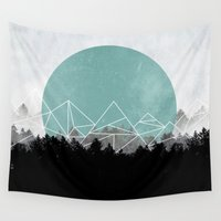 woods Wall Tapestries featuring Woods Abstract 2 by Mareike Böhmer
