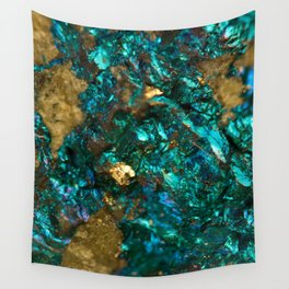 Teal Oil Slick and Gold Quartz Wall Tapestry