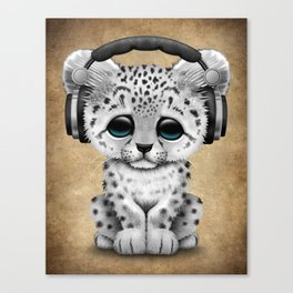 Cute Snow leopard Cub Dj Wearing Headphones Canvas Print