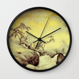 A Golden Winter Wall Clock