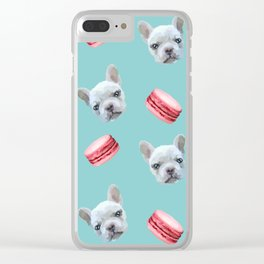 French Bulldog and macaroon pattern (Raspberry) Clear iPhone Case