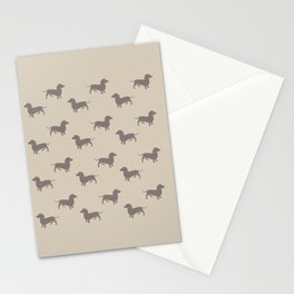 Dachshund Pattern - Light tan Stationery Cards