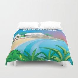 Bermuda - Skyline Illustration by Loose Petals Duvet Cover