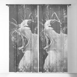evil cat mouth wide open splatter watercolor black white Sheer Curtain