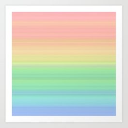 Abstract Pastel Rainbow II Colored gradient stripes Art Print