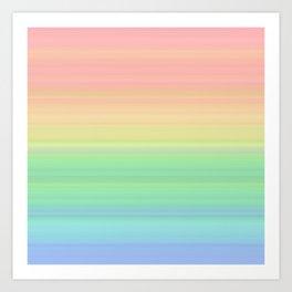 Abstract Pastel Rainbow II Colored gradient stripes Art Print