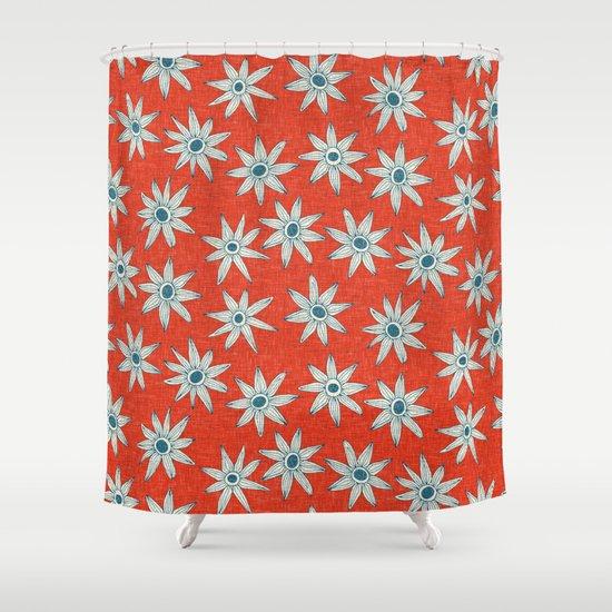 Orange Blue Shower Curtain