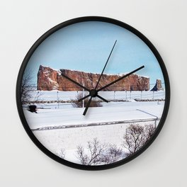 Perce Rock in the Snow Wall Clock