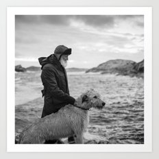 The man, the sea, the hound. Art Print