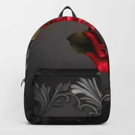 Gothic Glamour Red Rose Black Ornamental Glam Backpack