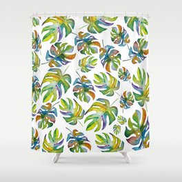 Tropical Dancing Leaves Shower Curtain