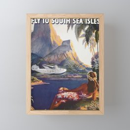 Fly to South Sea Isles, American Airways Vintage Travel Poster  Framed Mini Art Print