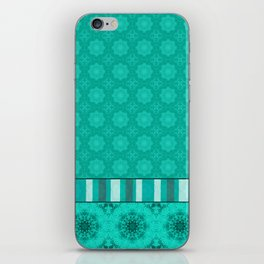 Peacock Green and White Abstract Mandala Tile iPhone Skin