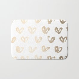 Luxe Gold Hearts on White Bath Mat