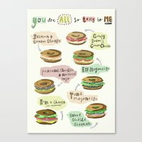 biology Canvas Prints featuring Bagel Biology by Faye Finney
