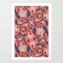 Oriental Lotus Pattern In Coral Pink by thothadan