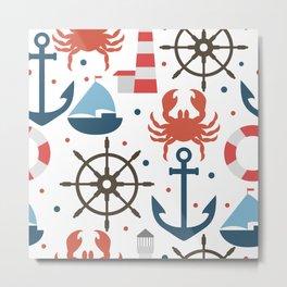 Sea white pattern Metal Print