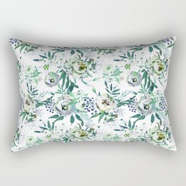 Country white green rustic watercolor floral Rectangular Pillow