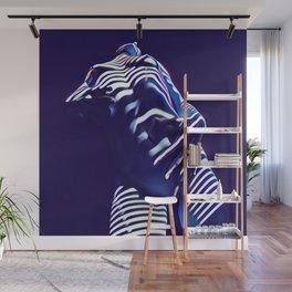 1570s-AK Sexy Blue Art Nude by Window Blind Blue Glow on Fit Body Wall Mural