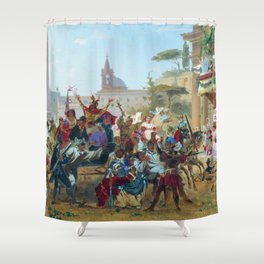 Carnival In Rome 1860 By Fyodor Bronnikov   Reproduction   Romanticism Painting Shower Curtain