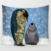 mouse Wall Tapestries featuring Emperor Penguins by Ben Geiger