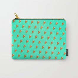 Cool and Trendy Pizza Pattern in Super Acid green / turquoise / blue Carry-All Pouch