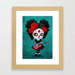 Day of the Dead Girl Playing Haitian Flag Guitar Framed Art Print