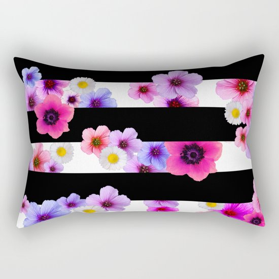 Flowers and Stripes 3 Rectangular Pillow