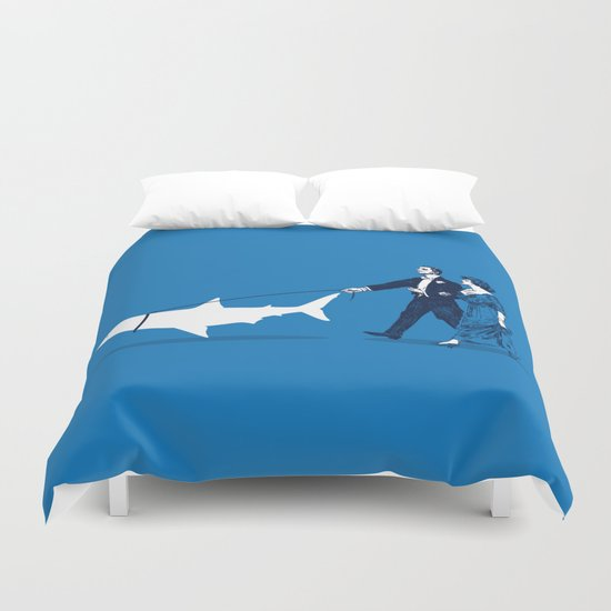Walking the Shark Duvet Cover