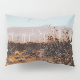 Desert and wind turbine with mountain background at Kern County California USA Pillow Sham