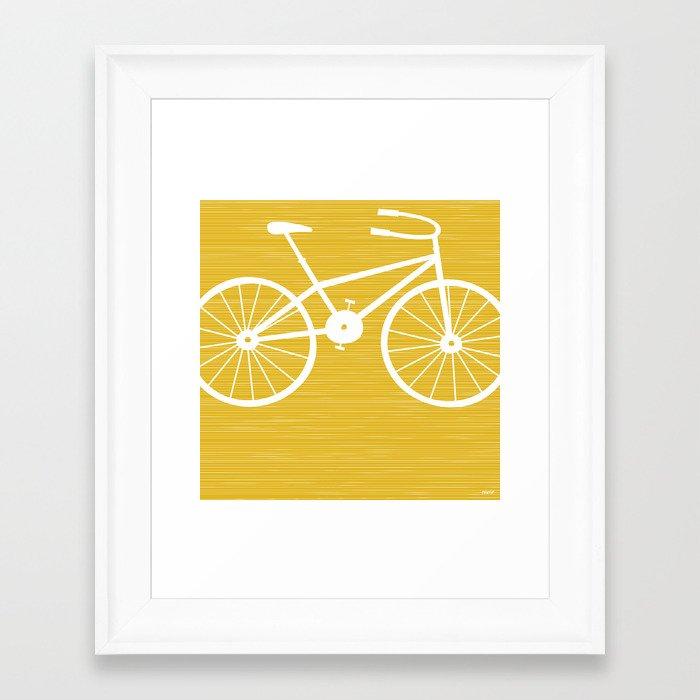 Yellow Bike by Friztin Framed Art Print