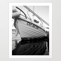 boat Art Prints featuring boat by habish