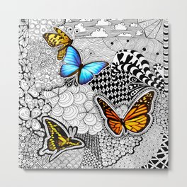 Tangled Butterfly Metal Print