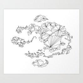 Avatar the Last Airbender: Map (Line) Art Print