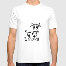 Funny Little Cow White Mens Fitted Tee MEDIUM