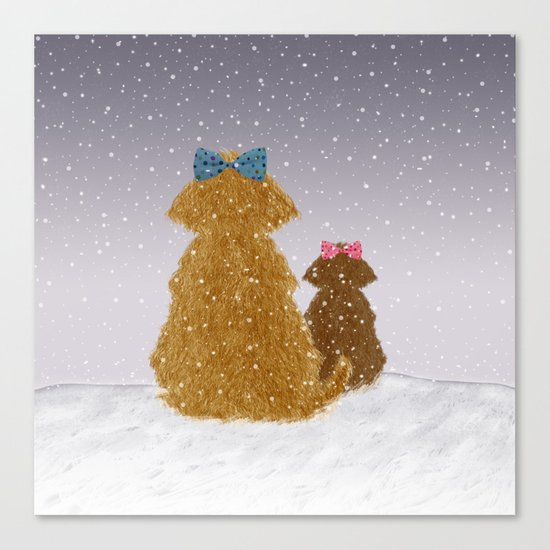 Cute Dogs Winter Scene Canvas Print