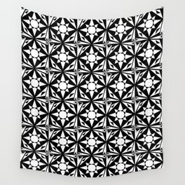 black and white symetric patterns 18- bw, mandala,geometric,rosace,harmony,star,symmetry Wall Tapestry