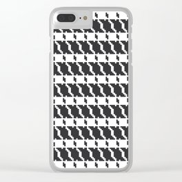 Black and white geometric abstract background, cloth pattern, goose foot. Pied de poule. Ve Clear iPhone Case