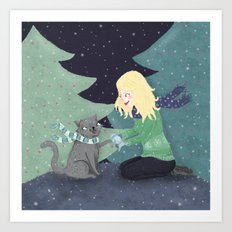 Giving Gifts at Christmas Art Print
