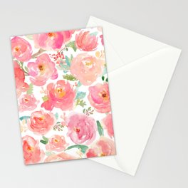Pink Peonies Watercolor Pattern Stationery Cards