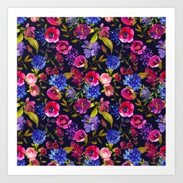 Scattered Bright Pink, Purple and Lavender Floral Arrangement with Feathers on Black Art Print