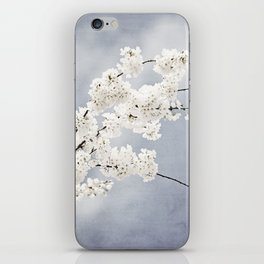Floral Spring Nature Photography, Blue Grey White Flower Branches iPhone Skin