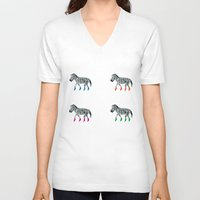 socks V-neck T-shirts featuring ZEBRA SOCKS by Patricia de Cos