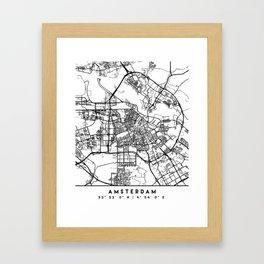 AMSTERDAM NETHERLANDS BLACK CITY STREET MAP ART Framed Art Print
